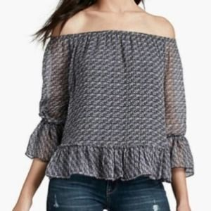 Lucky Brand Off-Shoulder Ruffle Trim Top Small